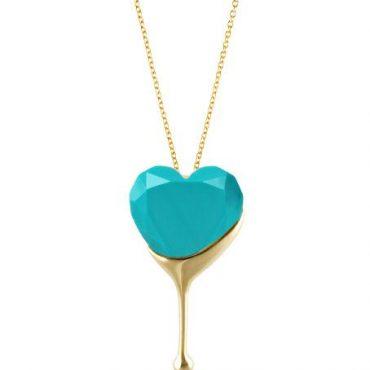 Aqua Dripping Heart Necklaces