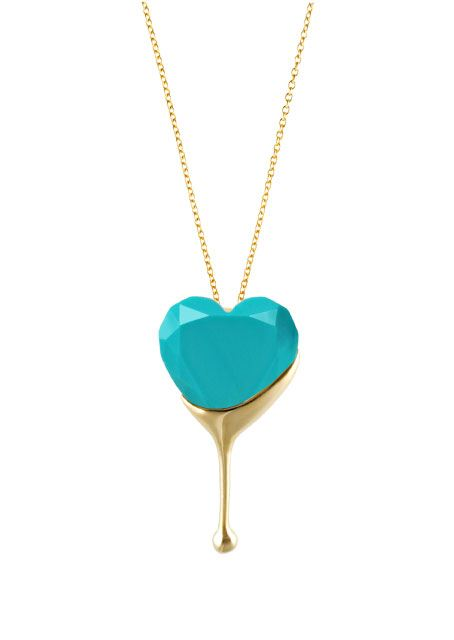 Aqua Dripping Heart Necklaces