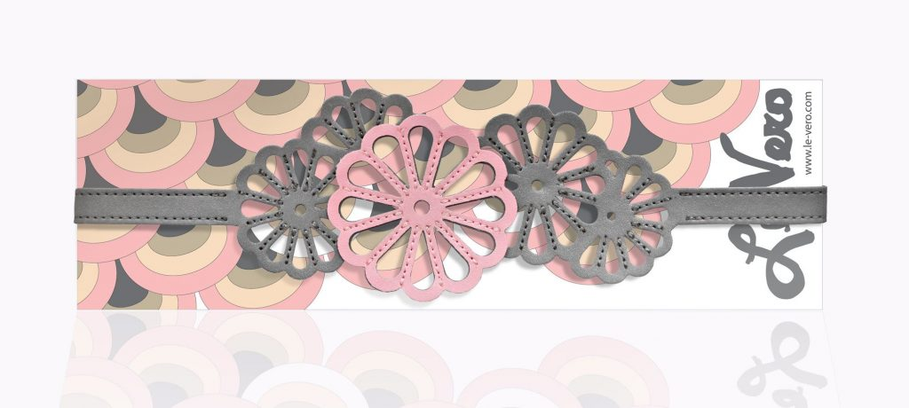 Imperial Flower Hairband Gray and Pink Card Package