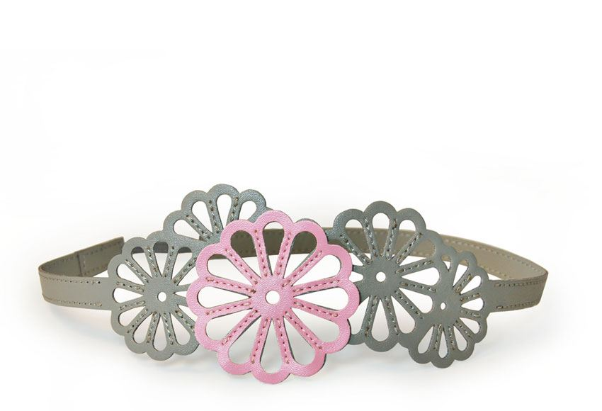 Imperial Flower Hairband Gray and Pink