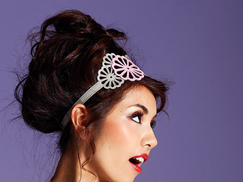 Imperial Flower Hairband Gray and Pink on Model