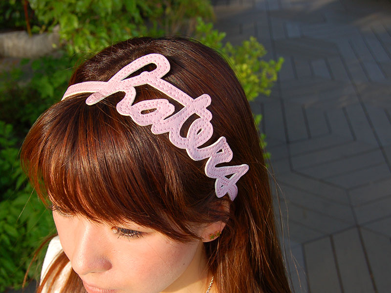 Haters Hairband Pink on Model