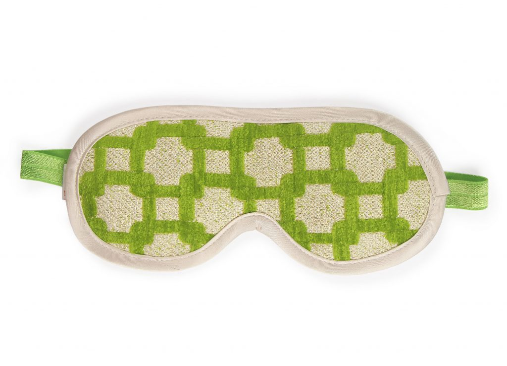 Private Patio Green Chenille Sleeping Mask Front