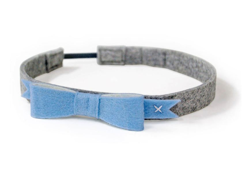 Simple Ribbon Hairband Gray and Blue